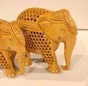 Wooden Elephant Jaali Down Trunk
