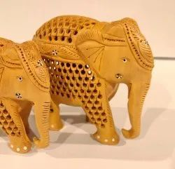 Wooden Elephant Jaali Down Trunk