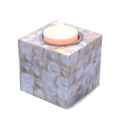 Medium Mother Off Pearl Square Candle 7 Tea Light Stand