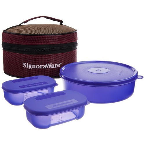Deep Violet Signoraware Classic Plastic Lunch Box Set With Bag