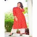 Tripta Red 3/4th Sleeve Ladies Fancy Cotton Slit Printed Kurti, Size: 46, 48, 50, 52
