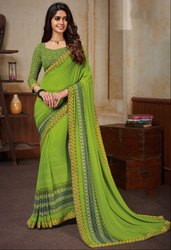Parrot Green Georgette Print Saree