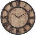 Rustic Dark Wooden Wall Clock