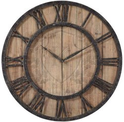 Analog Rustic Dark Wooden Wall Clock, Size: 16x16inch