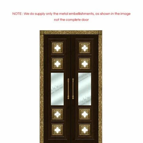 Standard Brown pooja room door with glass, For Home, | ID ...