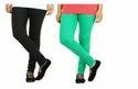Dark Black-green Cotton Lycra Full Length Women Leggings
