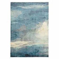 Rectangular Blue and White Modern Silk Floor Rug