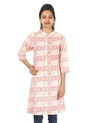 Straight 3/4th Sleeve Om Printed Cotton Women Casual Ladies Kurti