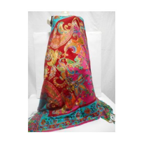 9071e635c7 Printed With Kashmir Aari Embroidery Ladies Bold Red Semi Pashmina Printed  Shawl With Multi- Color