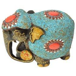 Wooden Painted Elephant With Stone Work