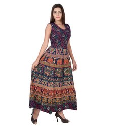 Ladies Blue Jaipuri Frock