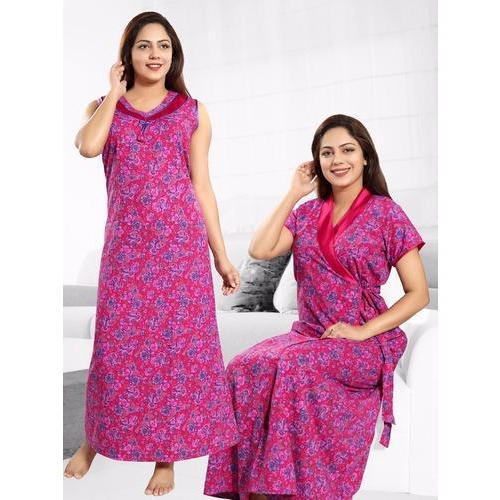 XL And XXXl Cotton And Hosiery Ladies Printed Gown