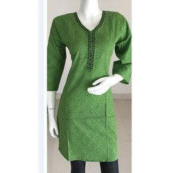 Green Formal Wear Cotton Kurti