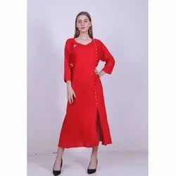 Plain Red Ladies Rayon Long Dress, Size: S-l