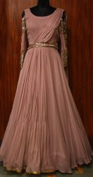 Indo Western Stitched Georgette Handwork Gown, Age Group: 22-45
