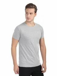 Mens Round Neck Half Sleeve Grey Melange T Shirts