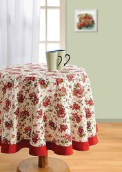 Swayam Libra 4-Seater Cotton Round Table Cover - Red