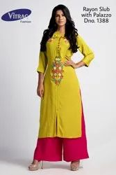 Liril and Pink 3/4th Sleeve Vitrag Rayon Slub Embroidered Straight Kurti with Palazzo