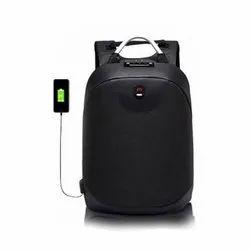 Canvas Black Phone Charging Backpack Bag, Capacity: 25 Liter, Size: L46 x W31 x H16 cm