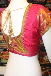 Red Silk Aari Work Blouse