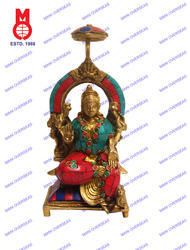 Laxmi Sitting On Throne W/ Stone Work Statue
