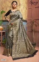 Stylish Grey Color Banarsi Silk Pallu Border Saree