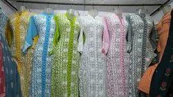 Straight Full Sleeve Lucknowi Kurtis For Women