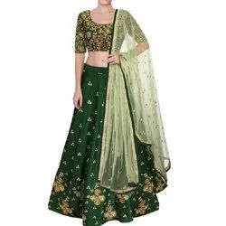 Green Party Wear Embroidered Lehenga, Packaging Type: Packet