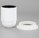 E27 White Phenolic Full Threaded Skirt Lamp Holder With 1/8ips Threaded Cap