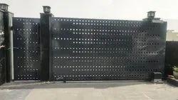 Black Mild Steel Automatic Motorized Sliding Gates, For Residential