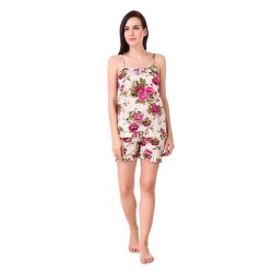Short Length Floral Print Satin Night Suit