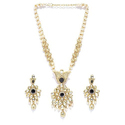 Panash Golden Gold Toned And Off White Kundan Studded Jewellery Set