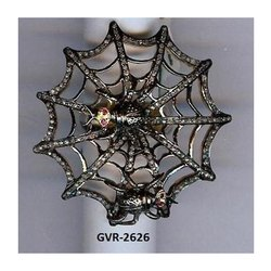 Real Designer Animal Spider Web Pave Mughal Cut Diamond Ring