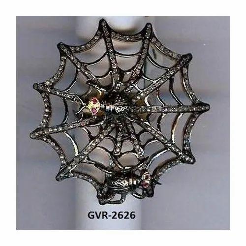 Silver Mountain Designer Animal Spider Web Pave Mughal Cut Diamond Ring
