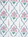 Cotton Floral Hand Block Print White Base Pink Printed Double Bed Jaipuri Rajai