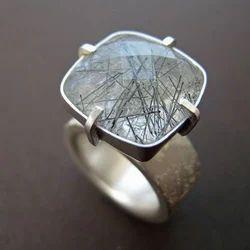 Gemstone Chunky Silver Ring