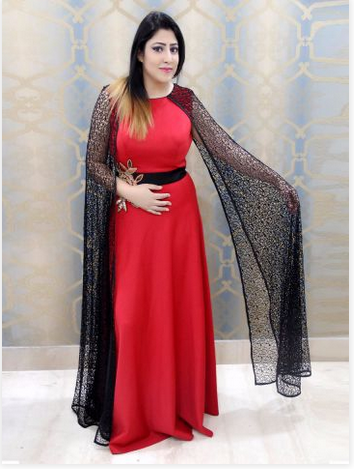 7d4af2dd037 Mahrin Red Partywear Gown With Long Fancy Sleeves