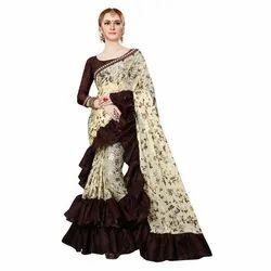 Designer Ruffle Silk Saree
