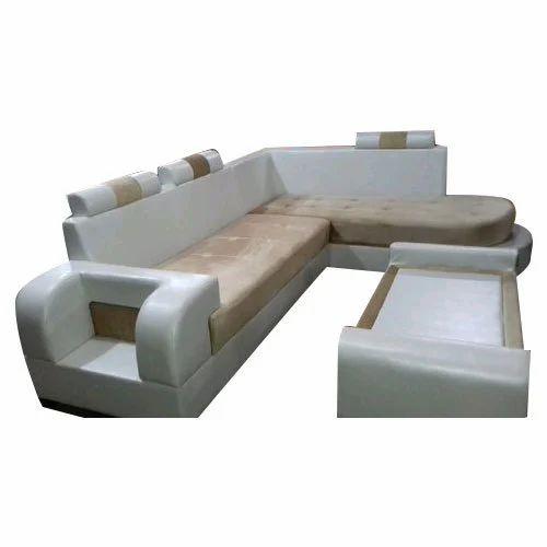 Sofa Set Size: White Fabric Designer 8 Seater L Shape Sofa Set, Size: 78
