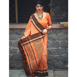 Ladies Cotton Party Wear Saree, Length: 5.5 meter