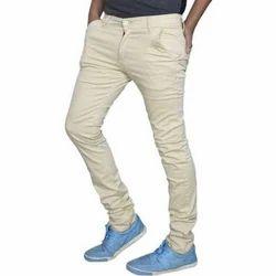 Cream Regular Fit Mens Trousers