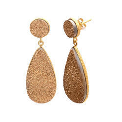 Druzy Gemstone Handmade Bezel Earring Gold Micron Polished Jewelry
