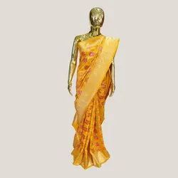 Yellow Katan Silk Saree