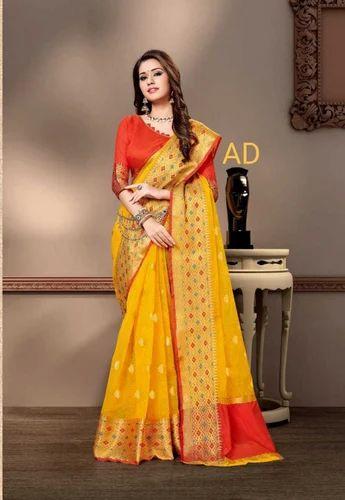 b5e1e5db6b Cotton Silk Designer Party Wear Saree With Zari, Rs 1030 /piece | ID ...