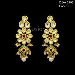 Meenakari Kundan Hanging Earrings