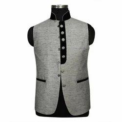 White Collar Cotton Blend Mens Sleeveless Nehru Jacket