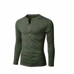 Round Full Sleeves Mens Olive Green Cotton T Shirt, Size: S-XXL, Age Group: S To 2xl