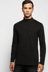 Full Sleeve Black High Neck Cotton T Shirt