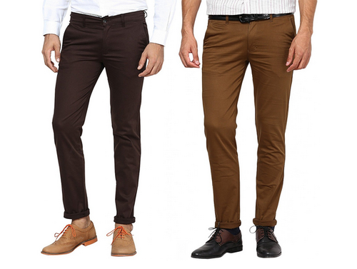 Inspire Pack Of 2 Slim Casual Chinos (Brown & D.Khaki)
