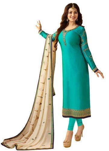 b137e9fb5d Stylish Attractive Wedding Party Wear Satin Churidar Salwar Kameez Suit